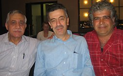 From left to right, Elias Farkouh, Jabbour Douaihy and Khaled Khalifa, finalists to the IPAF prize, at breakfast!